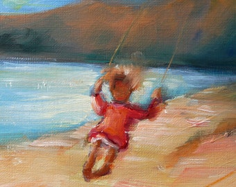 """Keep on Swinging, original oil painging by puci, 3.5"""" x 3.5"""""""