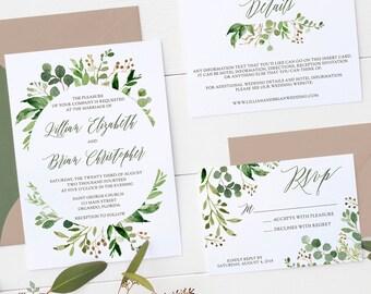 Wedding Invitation Set Watercolor Greenery Wedding Invitation Suite Botanical Watercolor Wedding Invitation Set Printed or Printable - 2017