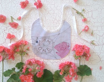 "First birthday ""I am one"" Bib. Charlotte's Web theme. Printed on 100% Cotton. Made to order"