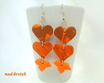Earrings polymer clay hearts, maple leaf Orange and Brown polymer clay - hand made