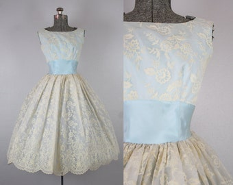 1950's Blue and White Floral Party Dress / Size Small