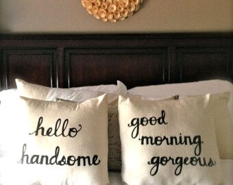 """RESERVED for Danielle...Hello Handsome Good Morning Gorgeous 16""""x16"""" Pillow Cover Set of 2 in Natural Linen, great wedding or shower gifts"""