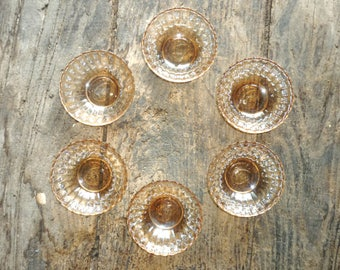 Six Condolo pearlised/ irridised peach glass dessert bowls