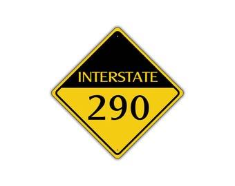 INTERSTATE 290 Highway Metal Aluminum Road Novelty Sign 12x12