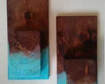Reclaimed wood candle holder set