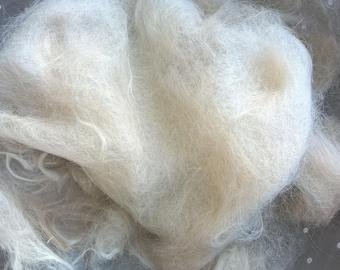 Raw, Unwashed but Combed Alpaca Fiber, primarily Suri Alpaca, sold by Pound