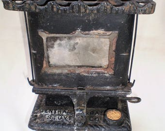 Vintage Miniature Cast Iron Tabletop Oil Stove by Central Oil Stove Co.-Outdoor Burner-1940's-ON SALE