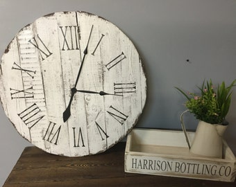 Large Wall Clock, Rustic, Reclaimed, Pallet, Farmehouse Style