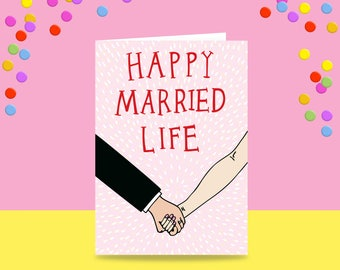 Greeting Card - Happy Married Life | Marriage Card | Wedding Card