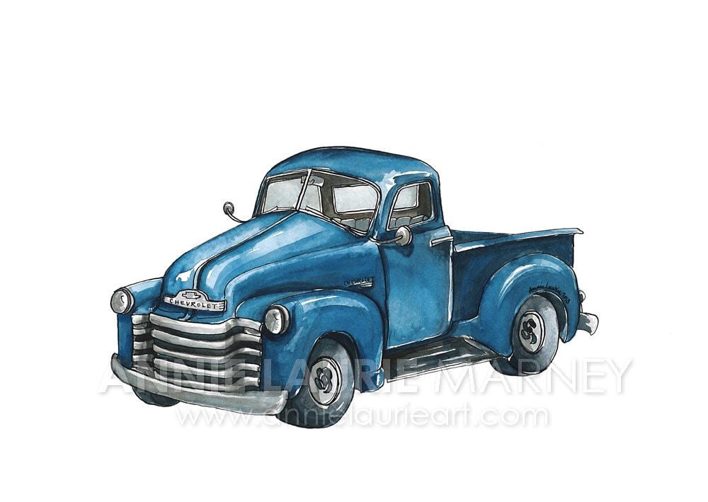 Chevy Truck 8x10 Watercolor Print Blue Truck