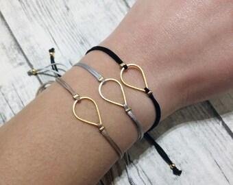 Teardrop charm bracelet, friendship bracelet, macrame bracelet, minimal bracelet, geometric, gold bracelet, bridesmaids gift, girlfriend