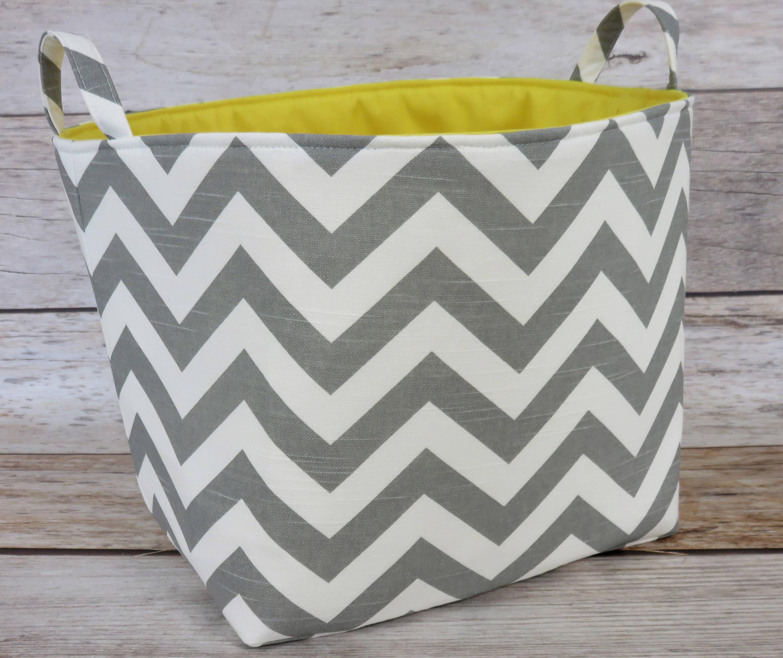Gray/ White Chevron Zigzag Fabric Organizer Bin Toy Laundry