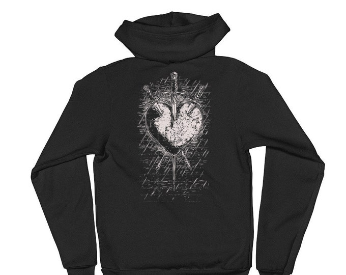 Three Of Swords Zip Up Hoodie