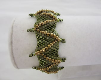 Perfect peyote beadweave bracelet.  Chevron design in gold and  greens. St. Patrick's Day.