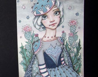 Miss Prickly - original pen and ink illustration by Tanya Bond cacti succulents thistle girl portrait costume