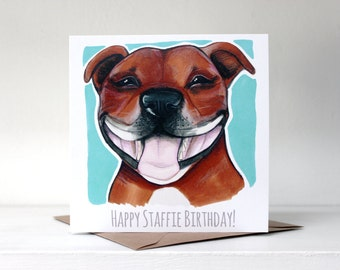 Happy Staffie Birthday! Card (Staffordshire Bull Terrier) - Fawn / Red / Turquoise