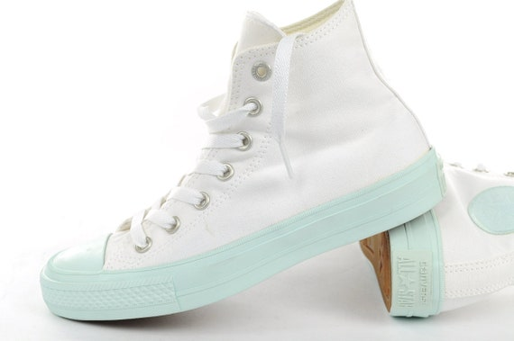 White Converse High Top Fiberglass Aqua Mint Custom Bling w/ Swarovski Crystal Rhinestone Kicks Chuck Taylor II All Star Bride Sneakers Shoe