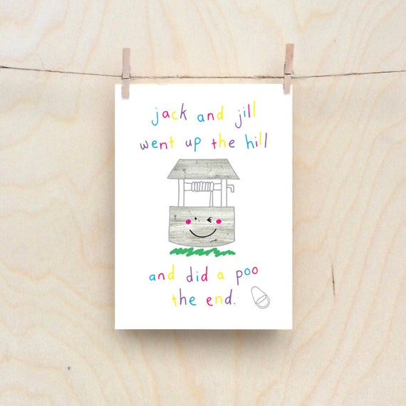 Jack and jill card, Rude kids cards, Silly Children's cards, Toddler rude words card, funny kids card. funny birthday card.