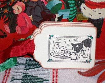 Christmas Gift Tags-Christmas Snack for Santa with Kitty - Set of Six