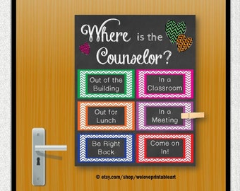 School Counselor Gift, Door Decoration, Where is the Counselor, School Counseling Office, Guidance Counselor, Mental Health Counselor Poster
