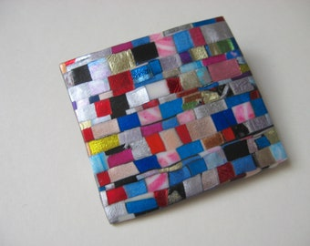 Mosaic Quilted Rectangle Pin Brooch in bright colors