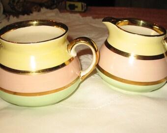 Sugar Bowl & Creamer Gibsons. Staffordshire