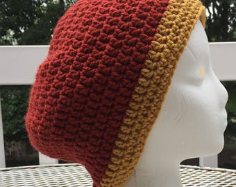 Slouchy Hat Slouchy Beanie Ready To Ship Dark Burnt Orange and Mustard Crochet Hat Beanie Women's Crochet Hat Accessories Gifts For Her
