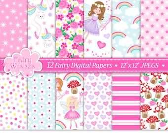 Fairy Digital Paper,Fairy Paper Pack,Digital Papers,Unicorn Paper,Fairy Clipart,Fairy Scrapbook Papers,Floral Paper, Commercial Use (P10)