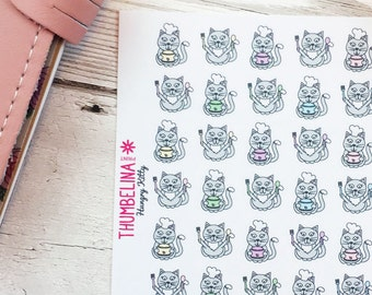 Hungry Kitty Decorative Planner Stickers for Erin Condren, Happy Planner, Plum Paper Planner and more.