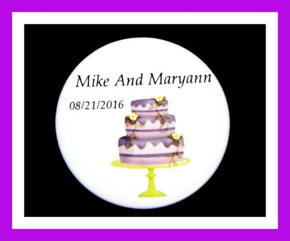 """Wedding Cake Party Favors,Anniversary Favors,Bride to Be Favors,Wedding Shower Favors,Groom to Be Favors, Button Pin  2.25""""  Set of 10"""