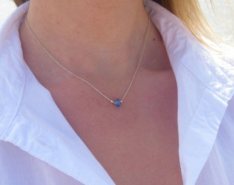 Sea Glass Necklace | Beach Glass Necklace | Simple Sea Glass Necklace | Single Strand Necklace | Sterling Silver Necklace | Beachy Necklace