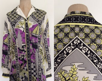 1970's Polyester Castle & Floral Print Button Up  White and Purple Novelty Print Size Medium Large by Maeberry Vintage