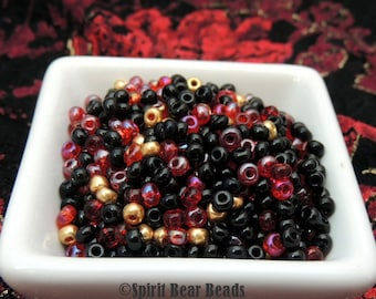 Midnight Rose Seed Bead Mega Mix  6/0 Czech Glass  Loose Beads