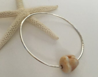 Sterling Silver Hammered Bangle <> Cone Shell