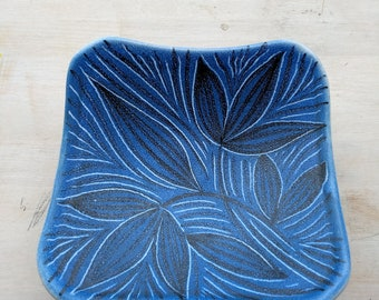 Norwegian vintage ceramic tray, blue-white