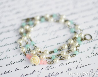 Bridesmaids Gift Romantic Triple Wrap Pearl Bracelet Ivory Flower Girl Necklace Bracelet Mint Flower Girl Gift - Wedding Accessories