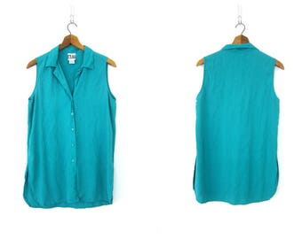 Modern Silk Tank Top Sleeveless Silk Blouse 90s Minimal Silk Top Teal Green Loose Fit Slouchy Top Silk Chic Button Up Vintage Womens Small