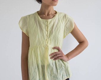 Yellow Blouse Womens, Short Sleeve Blouse, Linen Top, Peplum Tops, Festival blouse, Womens Summer Tops, Linen Clothes, Ethnic Blouse