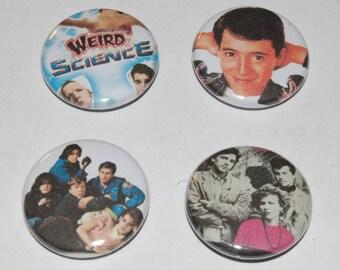 John Hughes 1980s Button Badge Set 25mm / 1 inch Breakfast Club - Ferris Bueller - Pretty in Pink - Weird Science