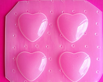4pc Chubby 30mm Heart Cabochon Dome Flexible Plastic Mold For Resin