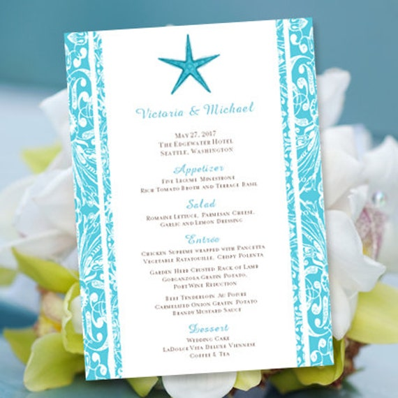 printable wedding menu template beach starfish pool blue editable worddoc instant download diy you print