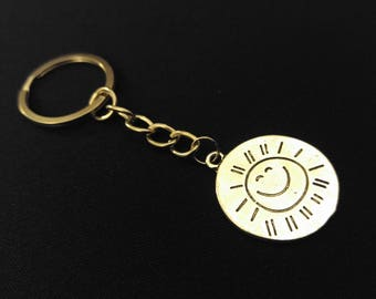 Your Are My Sunshine Baby Sun Medallion Silver Metal Charm Keychain Key Ring Unique Gift
