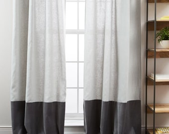 Color Block Curtains,  Color Block Drapery Panel, custon curtains, striped curtains, multiple colors, pick your color