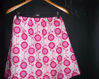 Sample SALE - Will fit Size S/M - Ready to MAIL - A-line SKIRT - Pink and White in Bloom - by Boutique Mia