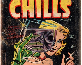"Chamber of Chills Magazine Comic Book Art 10"" X 7"" Reproduction Metal Sign J23"