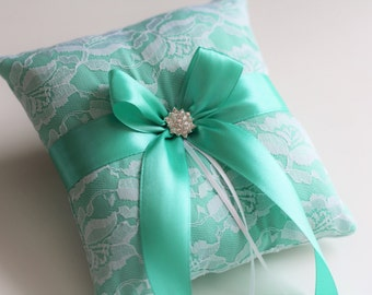 Mint Ring Bearer Pillow, Mint Wedding Pillow, Mint White Bearer Wedding Ring Pillow, Mint Wedding Basket Pillow Set, Mint Flower Girl Basket