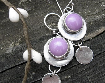 Phosphosiderite Earrings / sterling silver dangle earrings / gift for her / purple stone earrings / jewelry sale / boho earrings / lavender