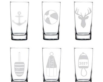 Etched Beverage Glasses (Set of 4) | Beverage Glass | Drinking Glasses | Glassware Set | Glasses | Etched Glass | Made in Maine