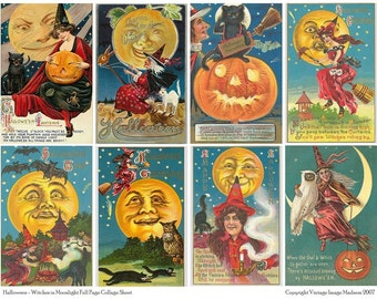 WITCHES IN MOONLIGHT Vintage Halloween Postcards - Instant Download Digital Collage Sheet