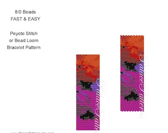 Loom Pattern and Peyote Stitch Bracelet Pattern for Large 8/0 Seed Beads - Pattern 75 for 8 beads - Miyuki 8/0 Bracelet Pattern